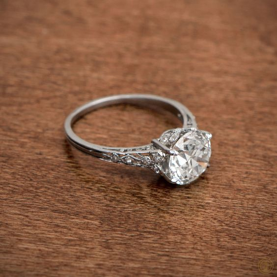 A stunning Antique Edwardian Engagement Ring. Circa 1910. Sold by Estate Diamond Jewelry