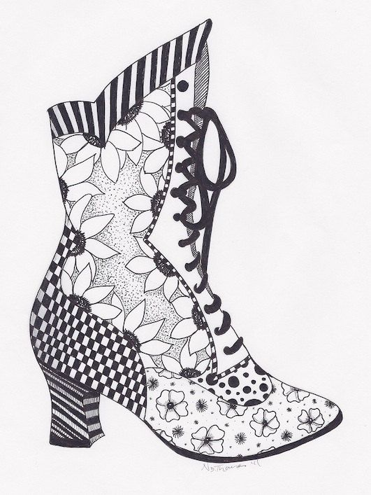 Zentangle, Victorian Boot, steampunk,