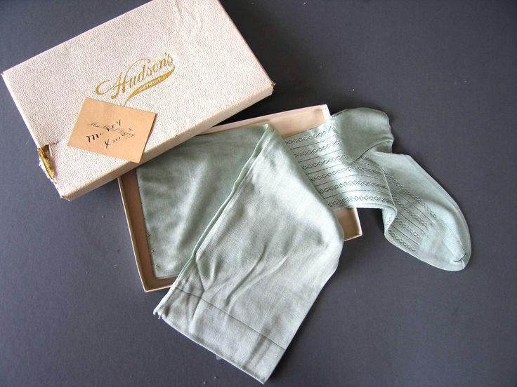 Antique Edwardian Mint Green Silk Stockings - Unworn - Original Box by textilesgoneby on Etsy
