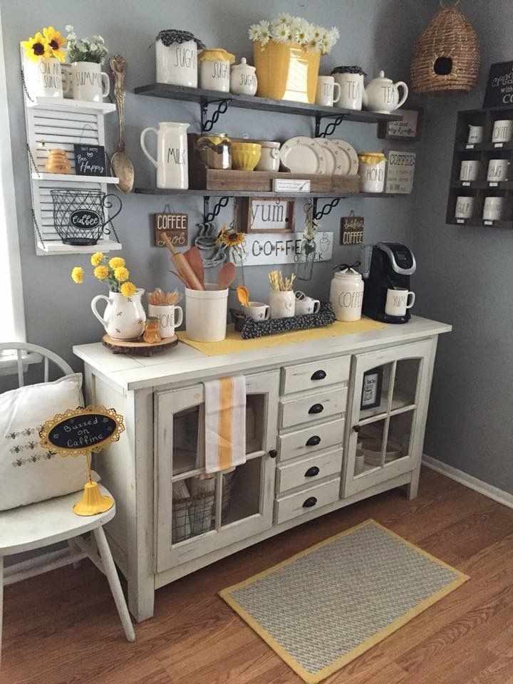 Love the bee skep in the back! Coffee bar home, Bars for