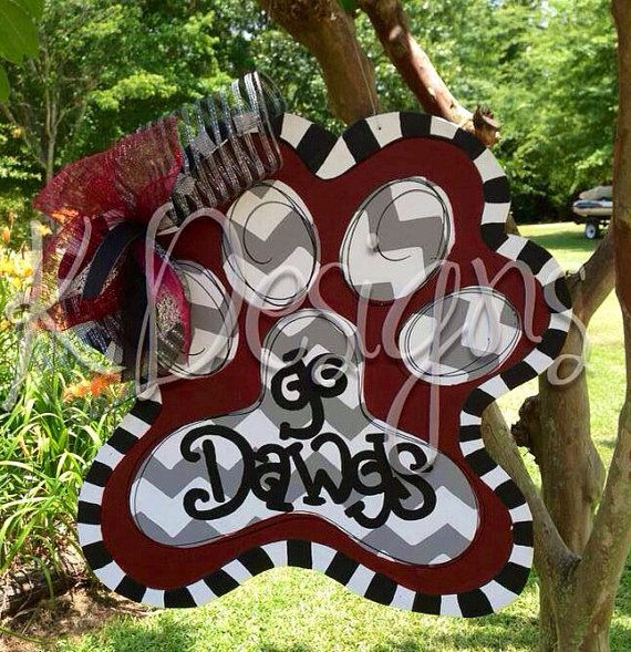 Mississippi State University pawprint door hanger - football door sign - team door hanger on Etsy, $50.00