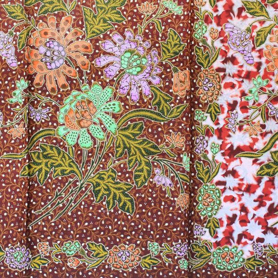brown marble print vintage flowers cotton traditional by 18dec, $20.00