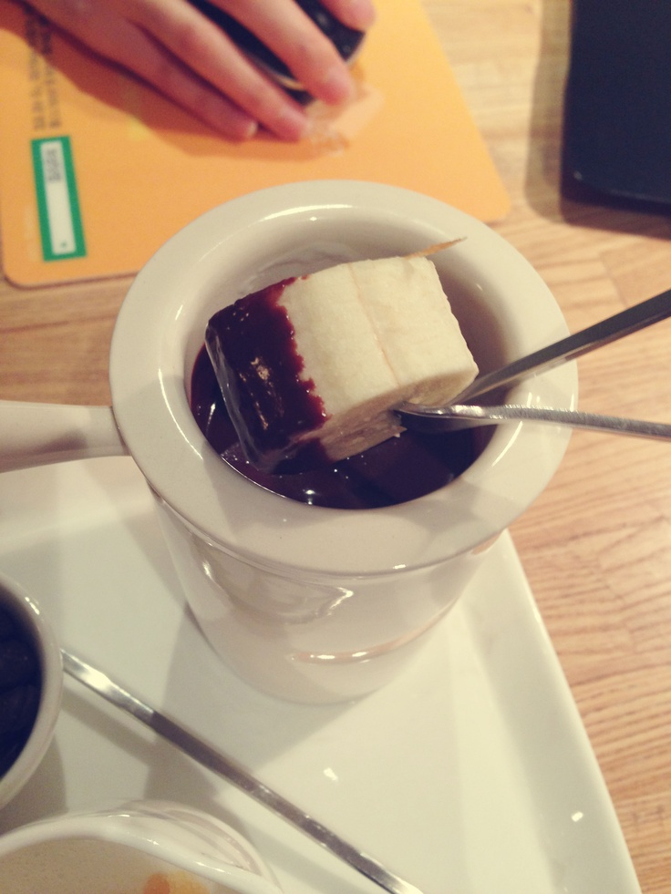 Chocolate Fondue with bananas <3  #Chocolate #Fondue