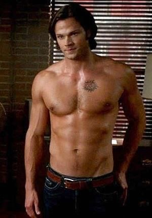 Sam Winchester.  I don't watch this show, but if frequently takes his shirt off, I might have to.  Gurl, look at dat body.