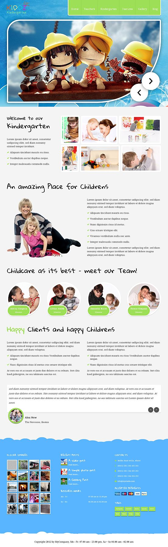 WordPress kindergarten theme, unique and responsive. Download and info here: http://7theme.net/preview/?theme=Kiddz