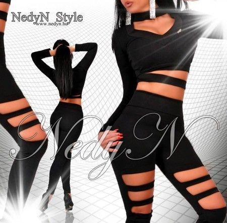NedyN fekete pántos női legging + top szett