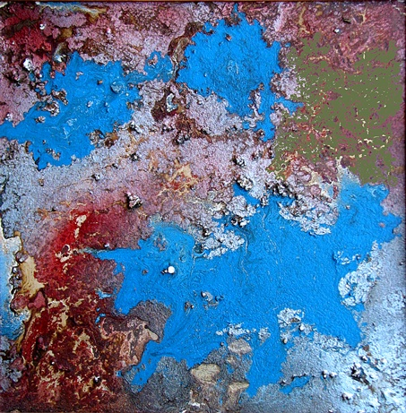 Mixed media approx 50 x50 cm on hardboard. titled; view from space.  1988