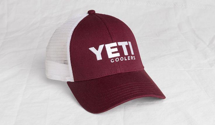 YETI   Traditional Trucker Hat-Maroon & White