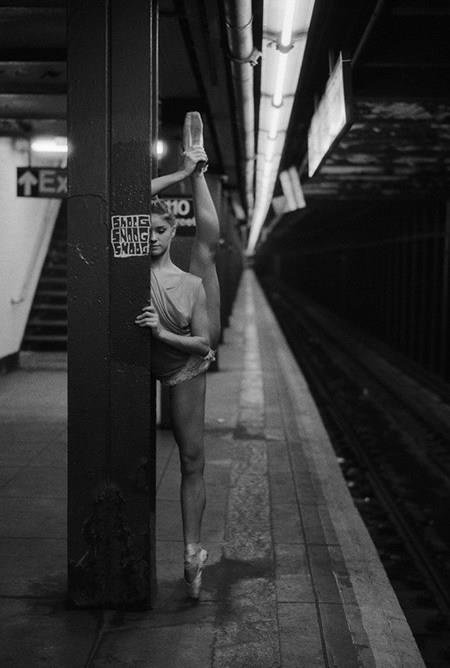 NYC. Waiting for the subway not wasting time... New York City Ballet