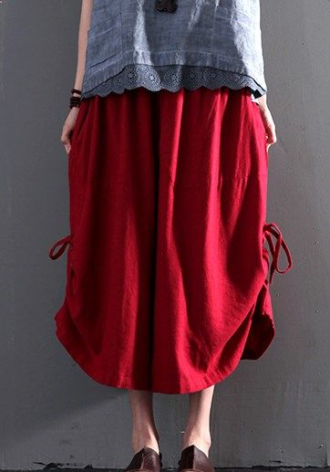 2016 New red linen summer skirt pants wide leg  paparazzo pants