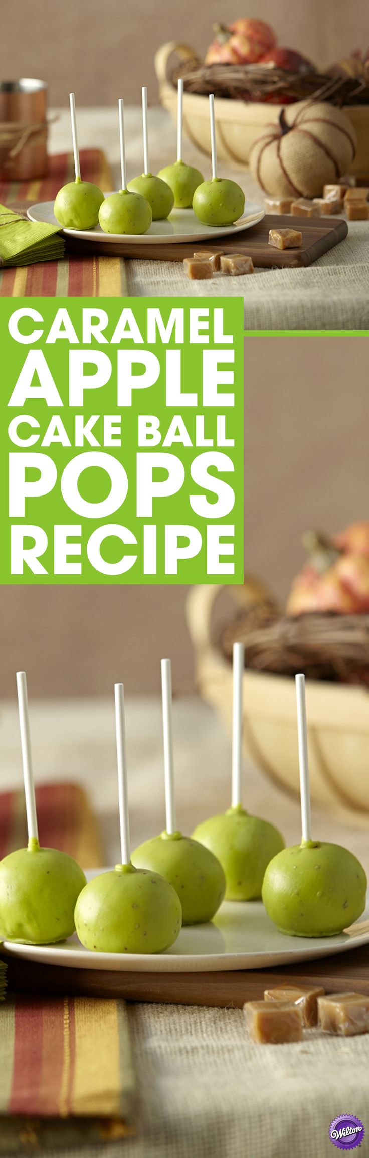 How to Make Caramel Apple Cake Pops - Make yummy caramel apple cake pops by dipping cake pops in melted limited edition caramel apple Candy Melts candy. Make a batch for a pumpkin carving party, a get-together with friends or even Thanksgiving!