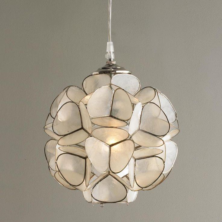 Capiz shell flower pendant light for Shell ceiling light fixtures