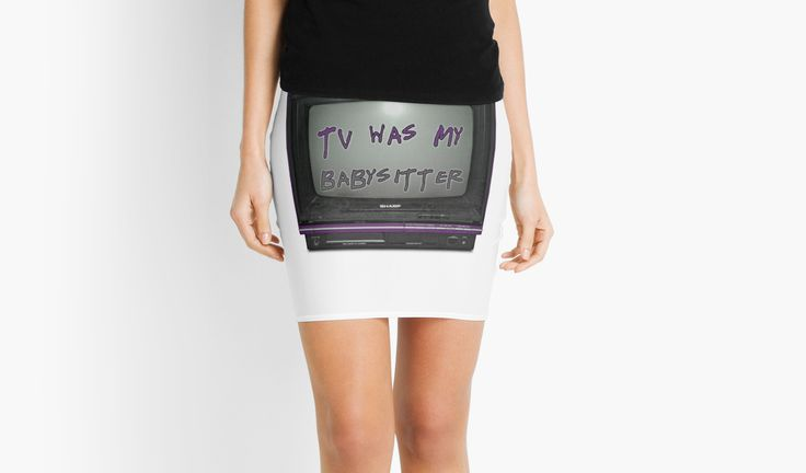 TV WAS MY BABYSITTER by GutterDesigns - Wide selection of mens and womens clothes, accessories, stickers, laptop & phone cases, journals, coffee cups, throw pillows, tapestries and bedding!