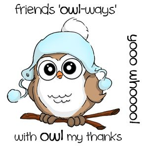 Our brand new Ai Whoots line is here! This particular Set includes three sayings: With owl my thanks     friends owl-ways     yooo whoooo!