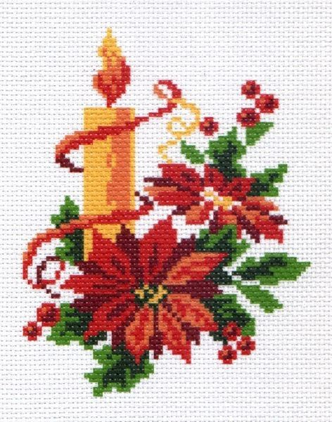 Poinsettia and candle cross stitch.