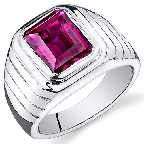 Revoni Mens 6.00 Carats Octagon Cut Ruby Ring In Sterling Silver With Rhodium Finish Size T,