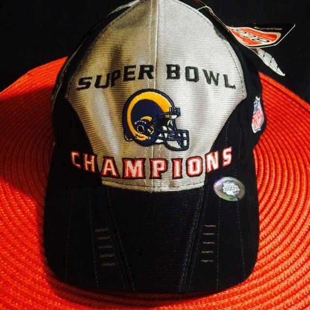 NFL Rams Super Bowl XXXIV Champions St.Louis Football Black Hat Year ...  Limited Nike Mens Kurt Warner White ... 8324df7ef