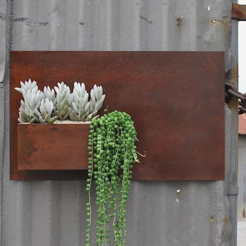 Rusty Steel Wall Pocket Planter Planters Garden