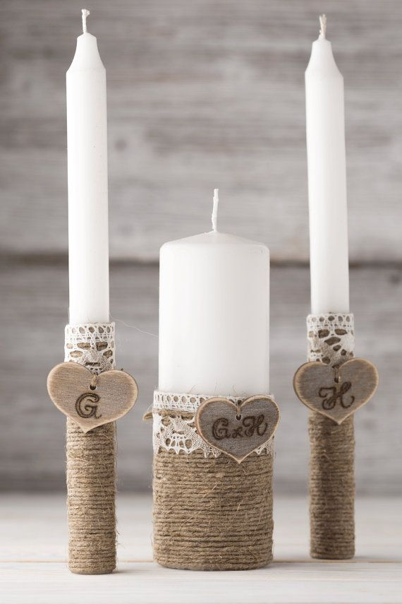 Personalized Unity Candle Set Wedding by InesesWeddingGallery