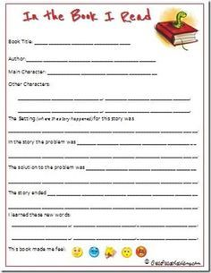 free book review template for kids - Google Search