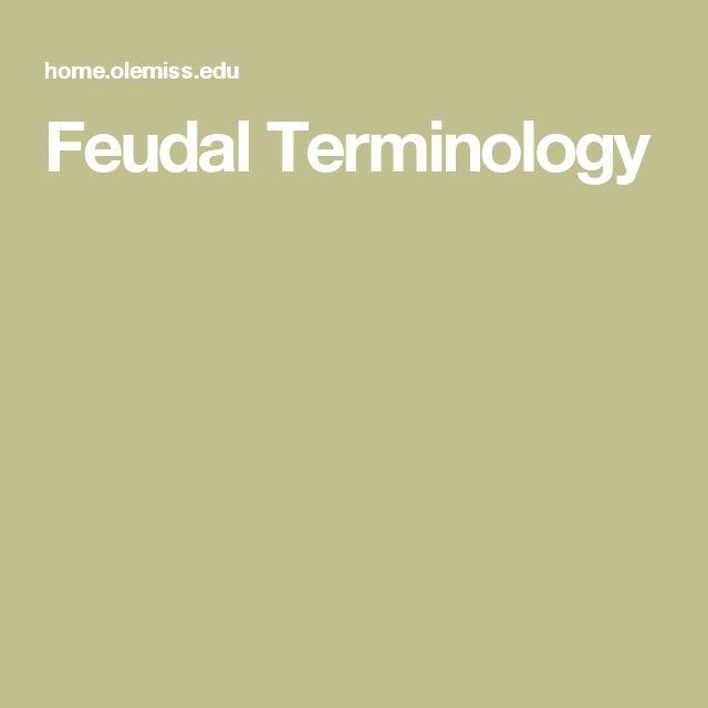 Feudal Terminology
