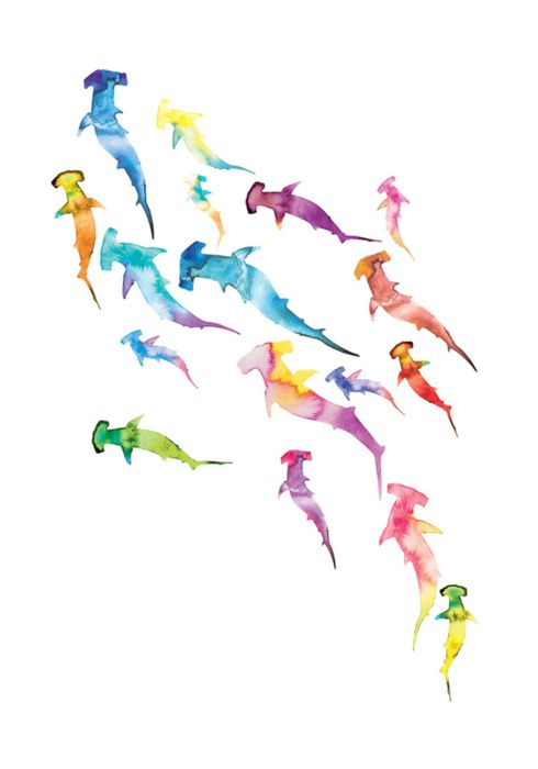 Watercolor sharks. I'm more of a black and grey tattoo fan, but if I did do color, I'd totally do something like this.
