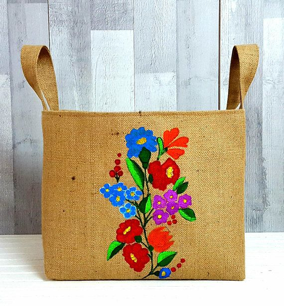 RETRO LAUNDRY BAG Floral Hamper Luxury Jute Hessian Burlap Storage Organizer Painted Vintage Style Country Container Handmade Fabric Gift