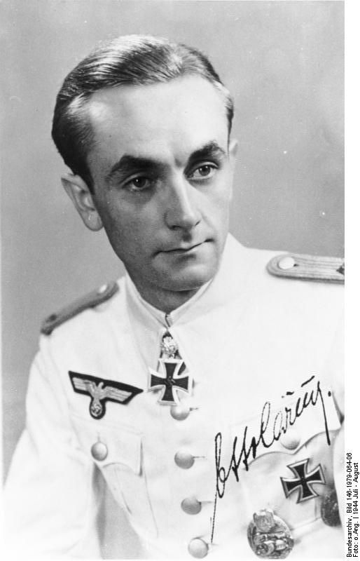 Oberleutnant Otto Carius (born 27 May 1922) was a German Wehrmacht German Army (1935–1945) tank commander during World War II and is credited with destroying more than 150 tanks.[1] He is also a recipient of the Knight's Cross of the Iron Cross with Oak Leaves (German: Ritterkreuz des Eisernen Kreuzes mit Eichenlaub). The Knight's Cross of the Iron Cross and its higher grade Oak Leaves were awarded to recognize extreme battlefield bravery or successful military leadership.
