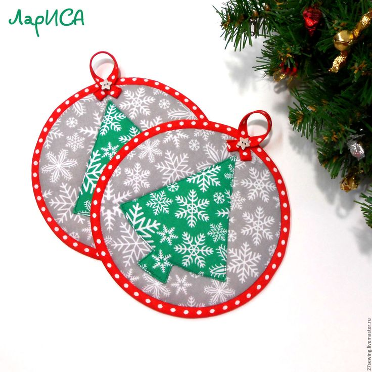 """Купить Прихватки """"Ёлочка"""" - зеленый, красный, серый, снежинка, горох, новогодние прихватки, необычные прихватки"""