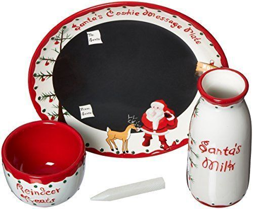 Santa's Message Plate Set Santa Cookie Plate Santa Milk Jar Reindeer Treat Bowl #ChildtoCherish