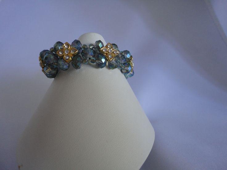 Mint green crystal flower bracelet