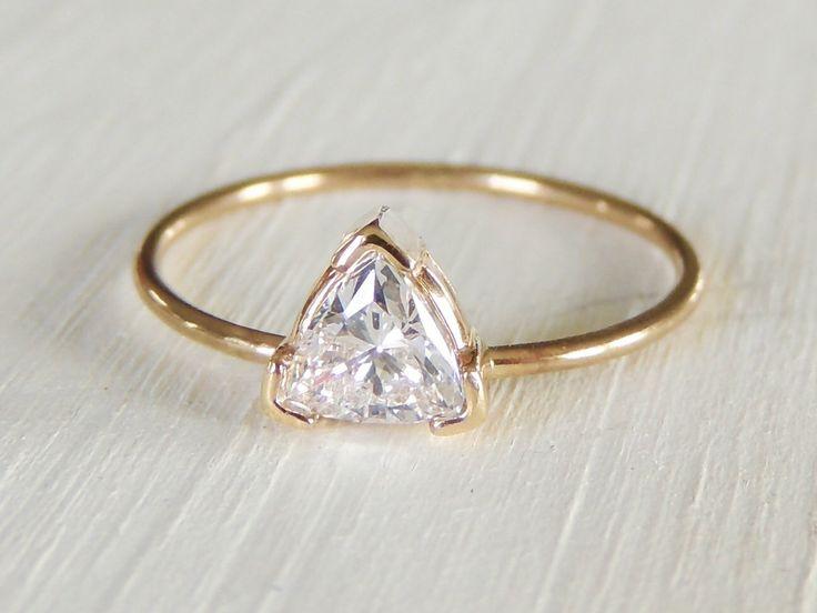 Moissanite Ring, Trillion Moissanite Ring, Engagement Ring, Yellow Gold Ring, Forever Brilliant Moissanite, Stacking Ring, Delicate Ring by Luxuring on Etsy https://www.etsy.com/listing/247002487/moissanite-ring-trillion-moissanite-ring