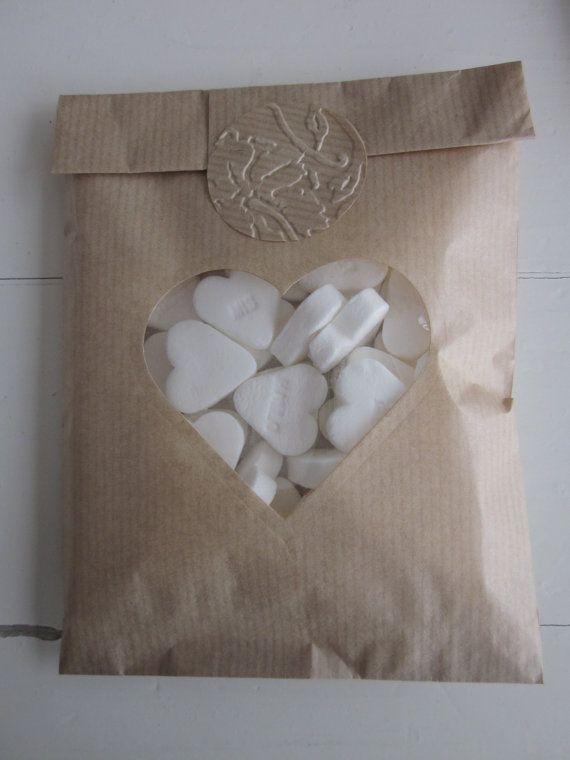 Kraft papieren zakjes met hart venster set van 20 van Natron kraft/ouderwetse marktzakjes --- Voor je bruiloft of verjaardagsfeest