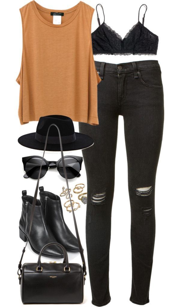 Outfit for a concert by ferned featuring MadewellBeige tank top, 60 AUD / Rag & bone jeans