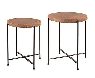 Набор из 2 столиков Aviva - железо - текстура дерева