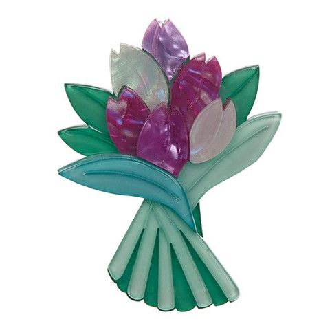 "Erstwilder Limited Edition Tulip Bouquet Brooch. ""A symbol of paradise on earth and a representation of the briefness of life. Boy, this bunch have a lot to live up to!"""