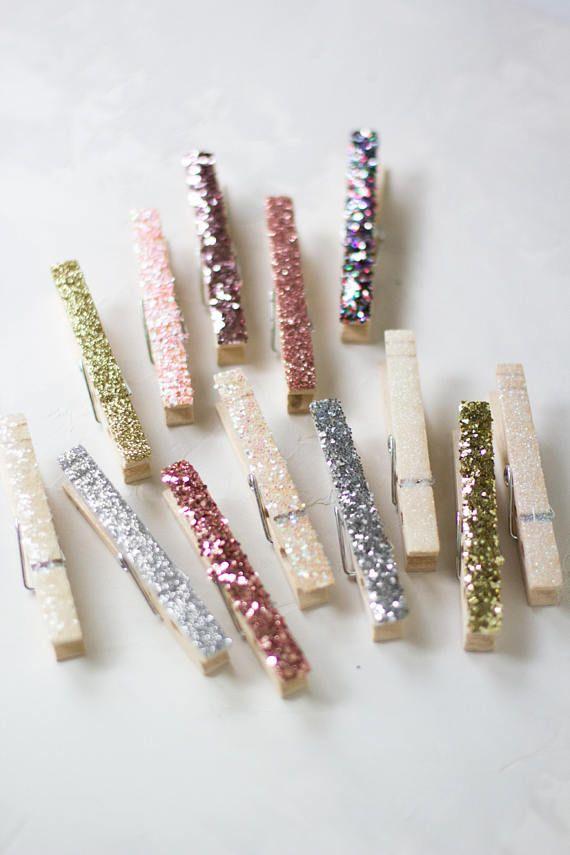 Iridescent White Glitter Clothespins Mini 10 pc / Small 6 pc