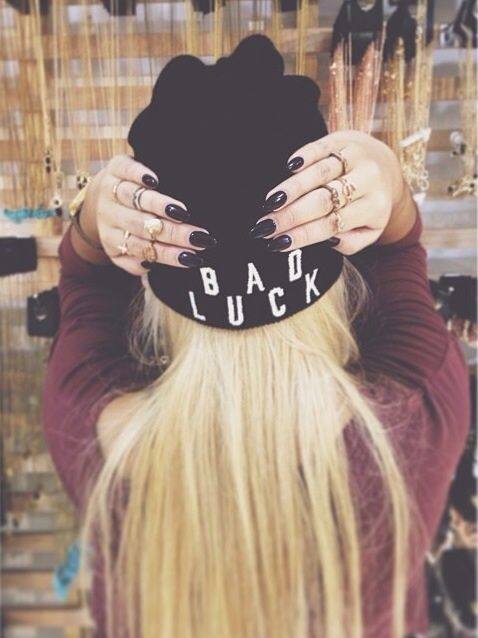 bad luck beanie and stacked rings
