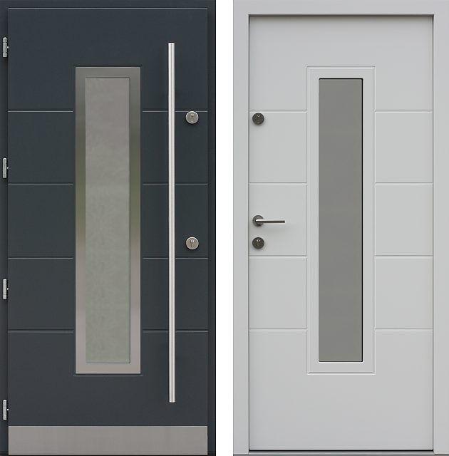 Drzwi wejściowe z aplikacjamii ze stali nierdzewnej inox wzór 466,7-466,17 antracyt + białe