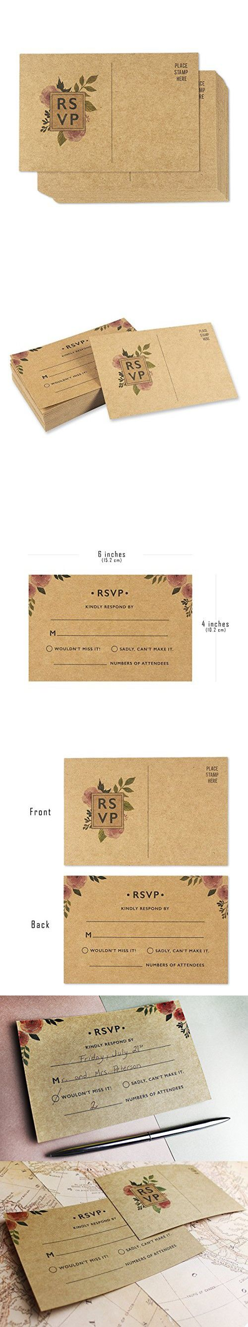 reply to wedding invitation m%0A    Pack RSVP Postcards  Kraft Blank Response Card  Wedding Return Cards  RSVP  Reply