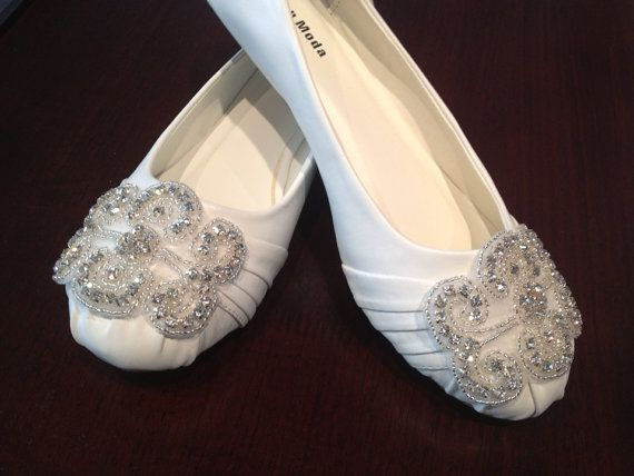 Flat Bridal ShoeRhinestone ShoeWedding Shoe Flat by SilverBridals, $62.00