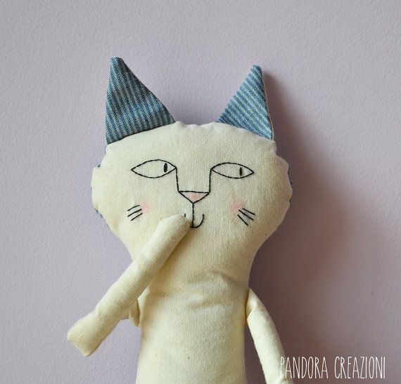 pupazzo gatto di stoffa di pandoracreazioni su Etsy
