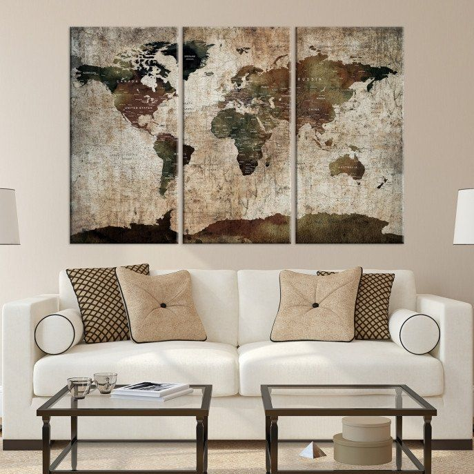 91824 large wall art world map canvas print custom world map push