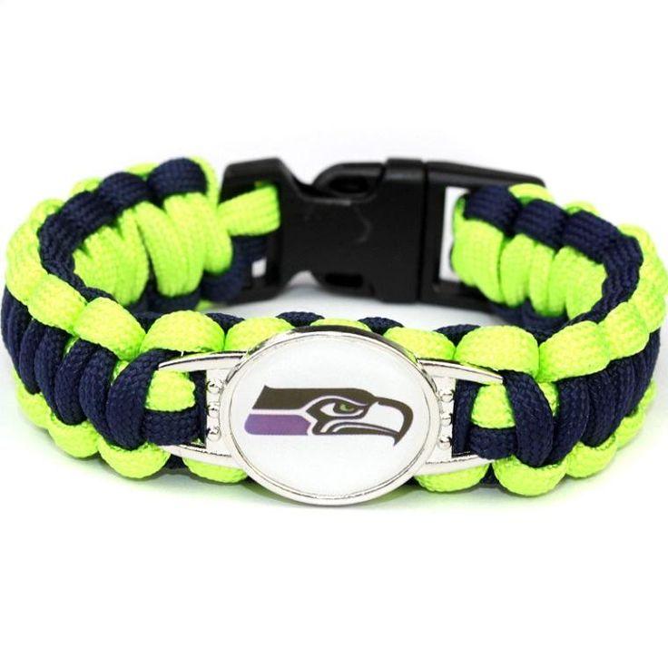 Seattle Seahawks Paracord Bracelet USA Football Team Logo Charm Braided Bracelet for Women Men Outdoor Bracelets Bangle Jewelry