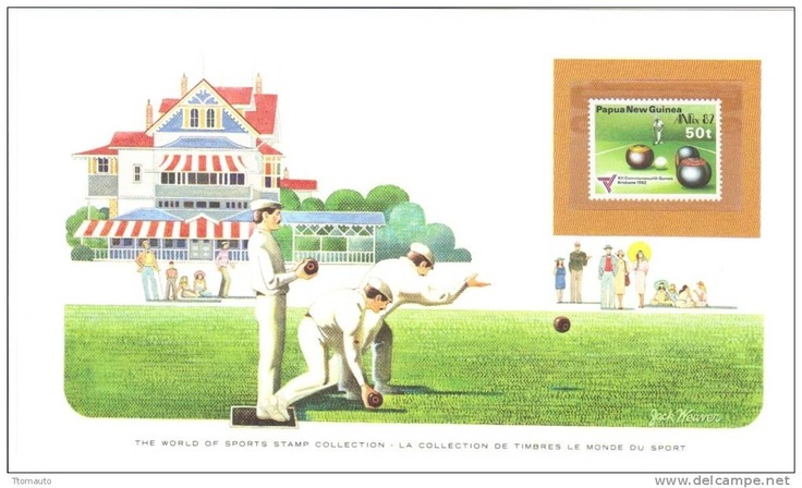 World of Sports Display Card - Mint Papua New Guinea Stamp - LAWN BOWLING