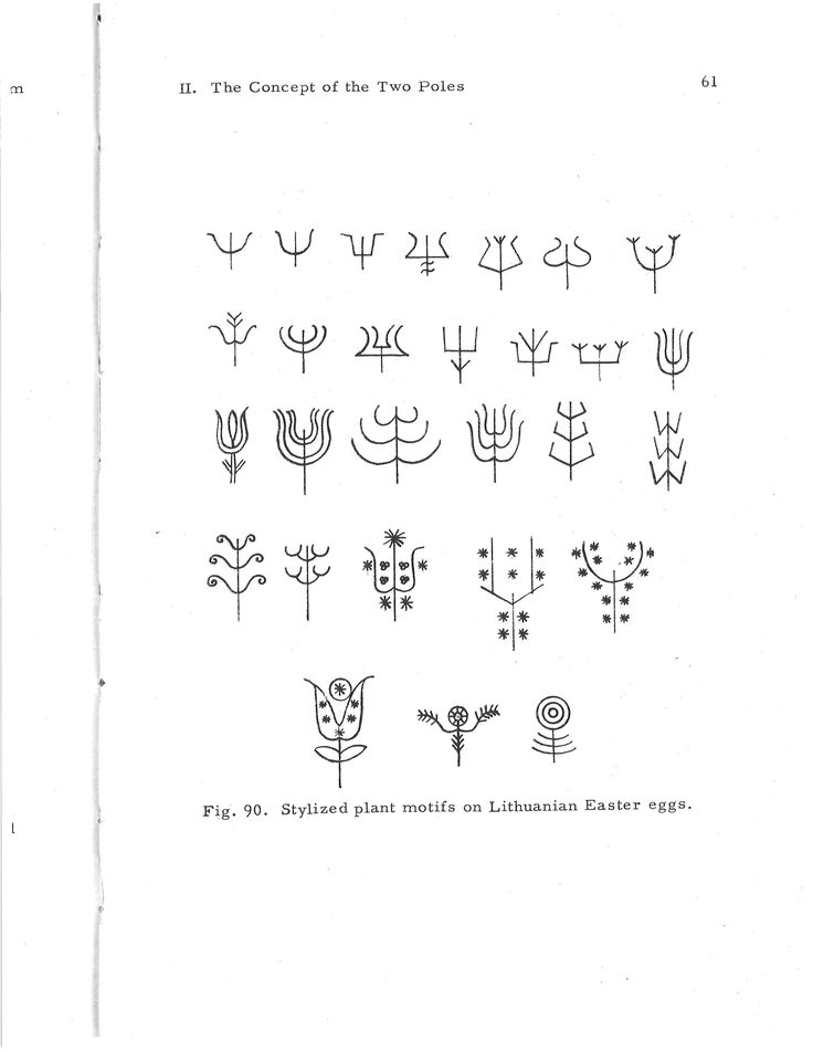 """Stylized plant line drawings - from """"Ancient Symbolism in Lithuanian Folk Art."""""""