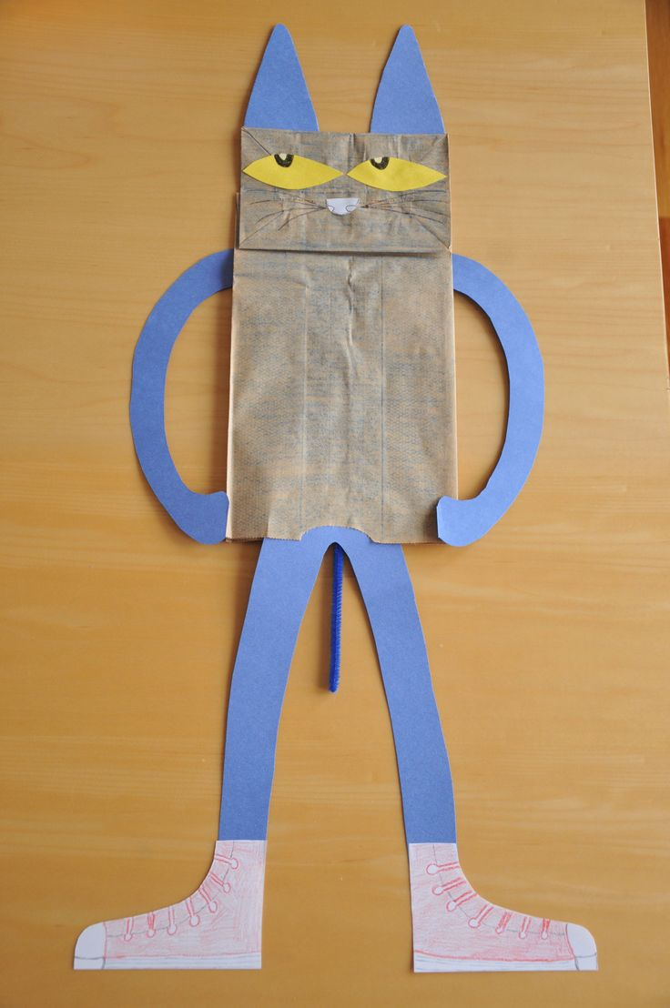 """Pete the Cat puppets! I may eliminate Pete's third leg or """"tail""""."""