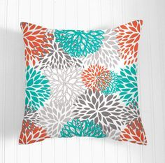 Pillow Covers Accent Pillows Decorative Pillow Covers  One lovely indoor/out door floral pillow cover 20 x 20 inches    Gorgeous contemporary new colors from Premier Prints   Gorgeous Blooms pattern in Gray, orange, Aqua Turquoise on a white background. It is made up of 100% decorator weight Indoor/ Outdoor Fabric with stain and water resistant. Just perfect for sun porches too. Tripled stitched, envelope back..   Custom orders welcome  * Cover Only Inserts not included *