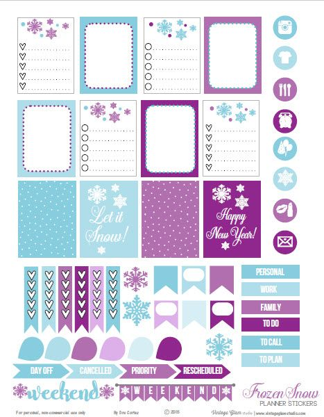 Free Printable Frozen Snow Planner Stickers from Vintage Glam Studio
