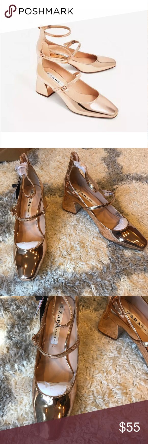 ZARA  STRAPPY HEELED BALLERINAS rose gold metallic Golden high heel shoes. Rounded toe. Block heel. Straps with buckle fastening at the ankle.  Heel height of 5.8 cm. / 2.2″  New never worn. Sold out Zara Shoes Heels